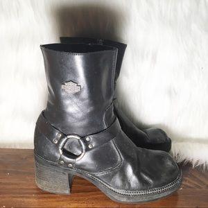 Harley Davidson Chunky Heel Leather Boots
